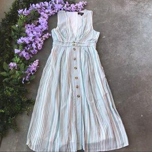 Lulu's Estnelly Sage Green Striped Midi Dress M